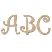A-Z Curly Wooden MDF Letters